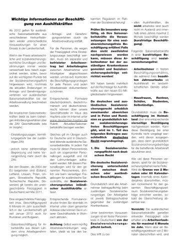 Wichtige Informationen zur Beschäfti- gung von Aushilfskräften