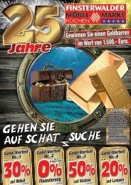 5 Jahre Finsterwalder Möbelmarkt - gewinnen Sie einen Goldbarren!