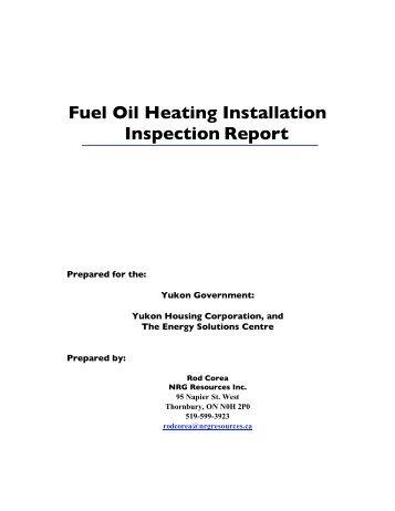 Fuel Oil Heating Installation Inspection Report - Yukon Housing ...