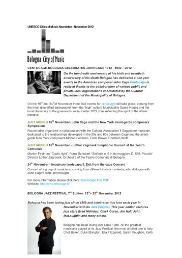 UNESCO Cities of Music Newsletter - November 2012 - Visit Gent