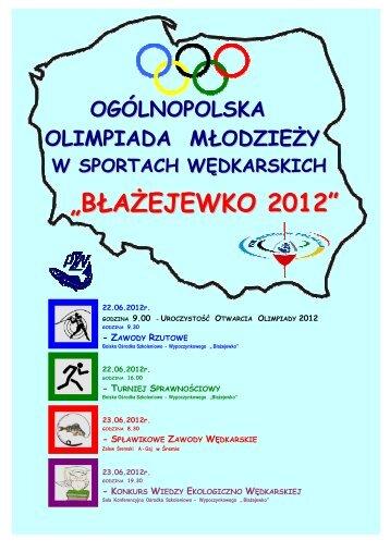 Komunikat Ogólnopolska Olimpiada Młodzieży Wędkarskiej ... - pzw