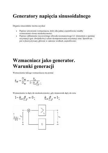 Generatory napięcia sinusoidalnego Wzmacniacz jako generator ...