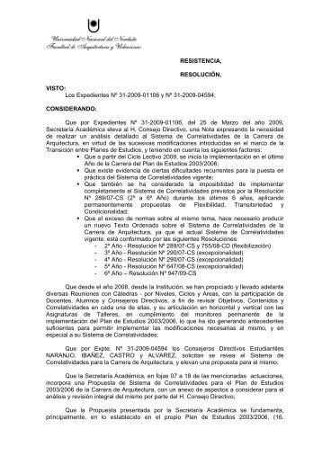 Sistema de Correlatividades (Resolución Nº 046/10) - Facultad de ...