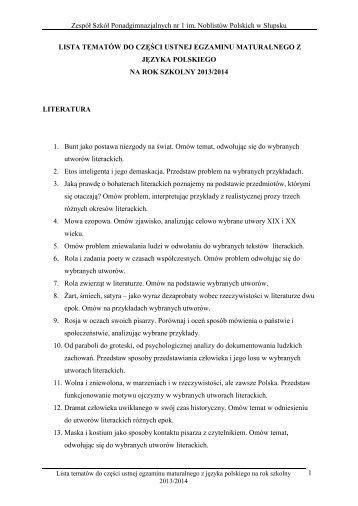 lista tematów do części ustnej egzaminu maturalnego z języka ...