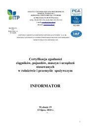 Certyfikacja zgodności ciągników, pojazdów, maszyn i urządzeń ...