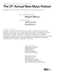 The 31st Annual New Music Festival - Bowling Green State University