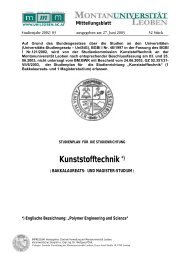 Kunststofftechnik *) - Montanuniversität Leoben