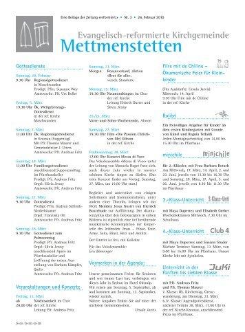 03-mettmenstetten pdf, Gemeindeseite reformiert, Nr. 3 März 2010
