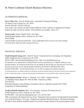 St. Peter's Lutheran Church Business Directory