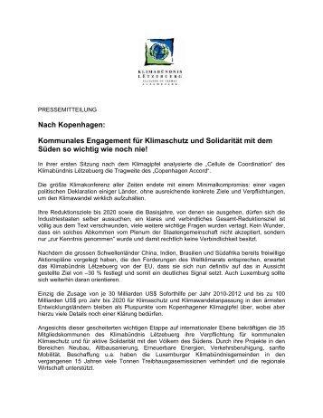 Nach Kopenhagen - Klima-Bündnis Lëtzebuerg