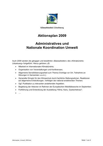 Aktionsplan 2009 Administratives und Nationale Koordination Umwelt