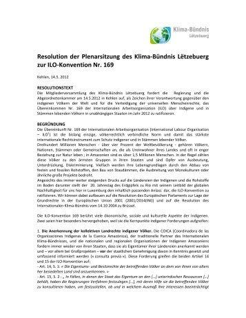 Resolution der Plenarsitzung des Klima-Bündnis Lëtzebuerg zur ILO ...