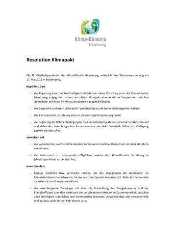 Resolution Klimapakt - Klima-Bündnis Lëtzebuerg