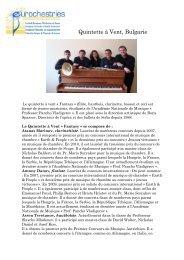 Quintette à Vent, Bulgarie - Eurochestries
