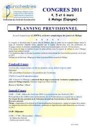 planning prévisionnel Congrès Eurochestries 2011