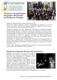 Orchestre Symphonique Stanislaw Moniuszko de ... - Eurochestries