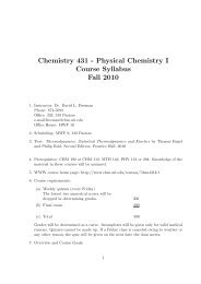 Chemistry 431 - Physical Chemistry I Course Syllabus Fall 2010