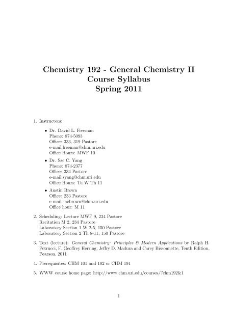 Chemistry 192 - General Chemistry II Course Syllabus Spring