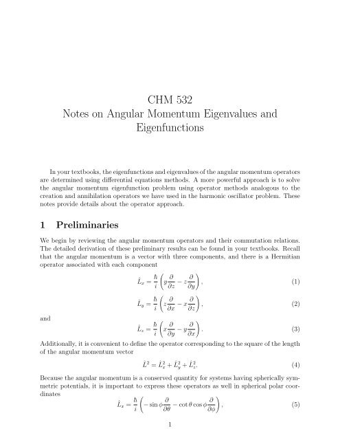 CHM 532 Notes on Angular Momentum Eigenvalues and