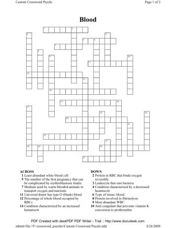 Neurocutaneous syndrome crossword puzzle crossword puzzle for blood ccuart Images