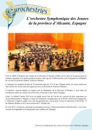 Orchestre symphonique des jeunes d'Alicante ... - Eurochestries