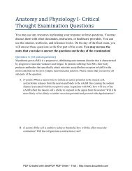 Anatomy and Physiology I- Critical Thought Examination Questions
