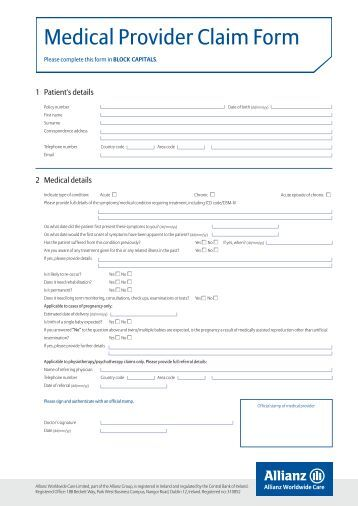 Medical Provider Claim Form - Allianz Worldwide Care