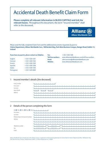 Death Benefit Claim Form - Allianz Worldwide Care