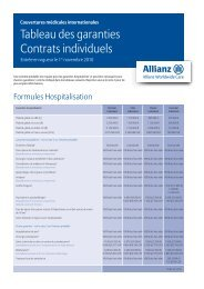 Tableau des garanties Contrats individuels - Allianz Worldwide Care