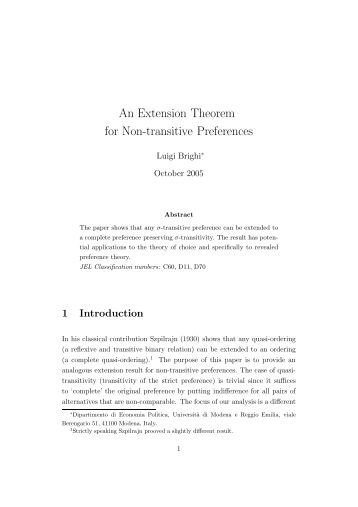 An Extension Theorem for Non-transitive Preferences