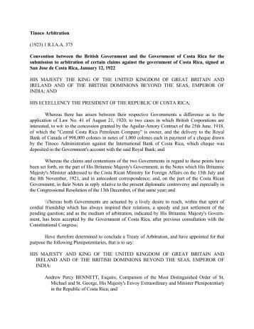 Tinoco Arbitration - Hans & Tamar Oppenheimer Chair in Public ...