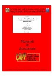 Materiali di discussione - Dipartimento di Economia politica