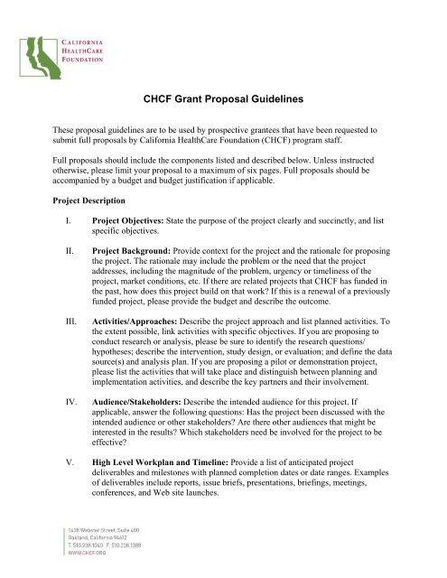 CHCF Grant Proposal Guidelines - California HealthCare Foundation