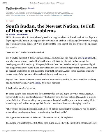 South Sudan, the Newest Nation, Is Full of Hope and Problems