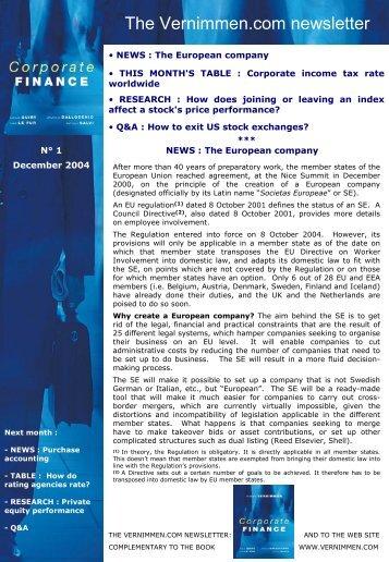vernimmen.com newsletter