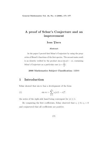 A proof of Schur's Conjecture and an improvement 1 Introduction