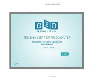 Reasoning through Language Arts - GED Testing Service