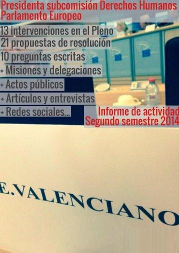 VALENCIANO - Informe actividad - 2 Semestre 2014 FB