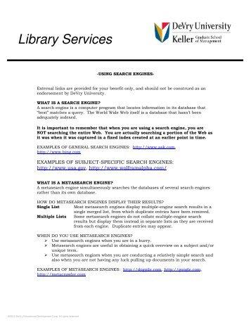 Using Search Engines - DeVry University
