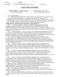 Lista de lucrari - Facultatea de Stiinte -