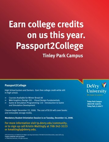 Earn college credits on us this year. Passport2College - Devry