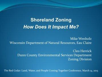 Shoreland Zoning - Herrick/Wenholz - University of Wisconsin ...