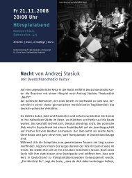 Fr 21.11.2008 20:00 Uhr Hörspielabend Nacht von Andrzej Stasiuk