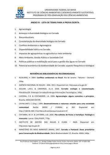 Anexo IV - Programa de Pós-Graduação em Ciências Ambientais