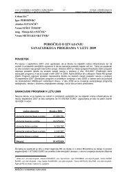 poročilo o izvajanju sanacijskega programa v letu 2009