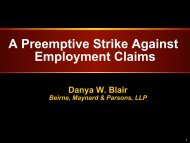 A Preemptive Strike Against Employment Claims