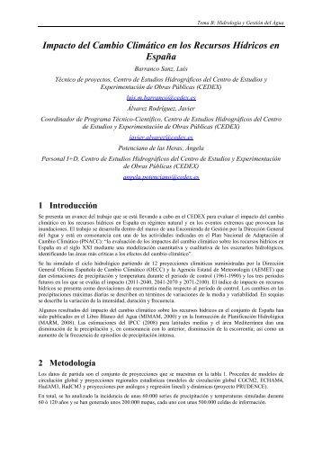 Impacto del Cambio Climático en los Recursos Hídricos en España