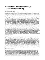 Innovation, Marke und Design Teil 2: Markenführung