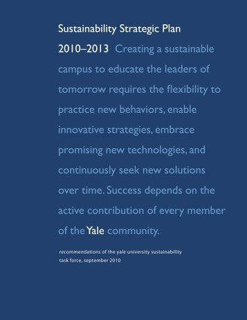 Yale: Sustainability Strategic Plan 2010–2013