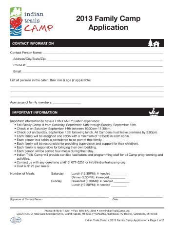 2013 Family Camp Application - Indian Trails Camp